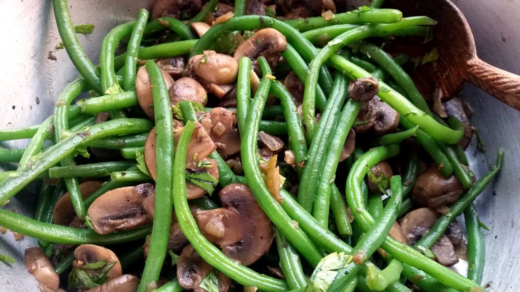french beans wth mushrooms